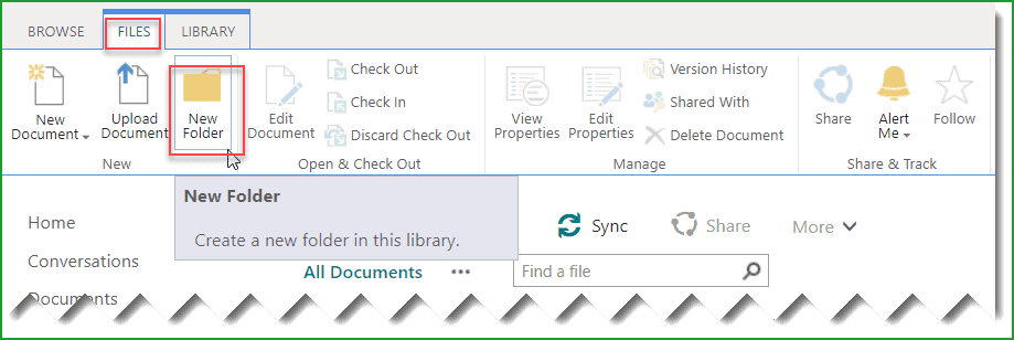create folder in sharepoint online library