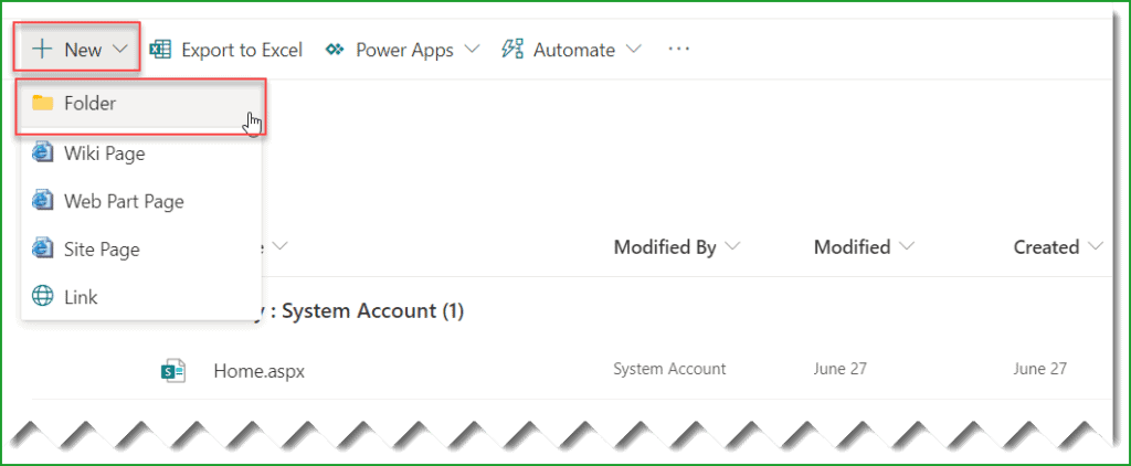 create folder in sharepoint site pages