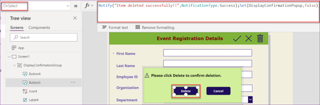 how to make a confirmation pop up box in Powerapps