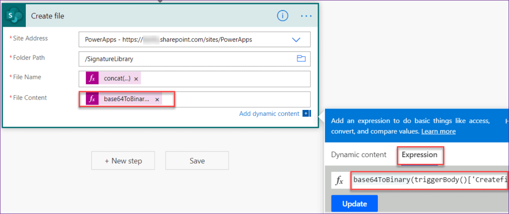 how to save Powerapps signature to SharePoint Library