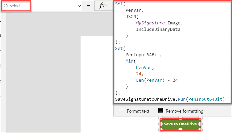 how to save powerapps signature in OneDrive