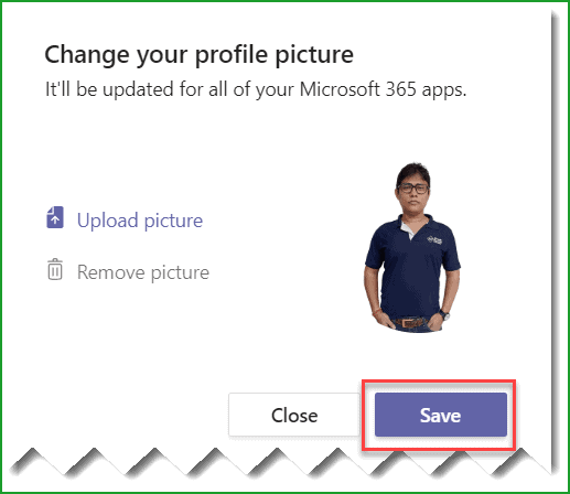 microsoft teams change profile picture