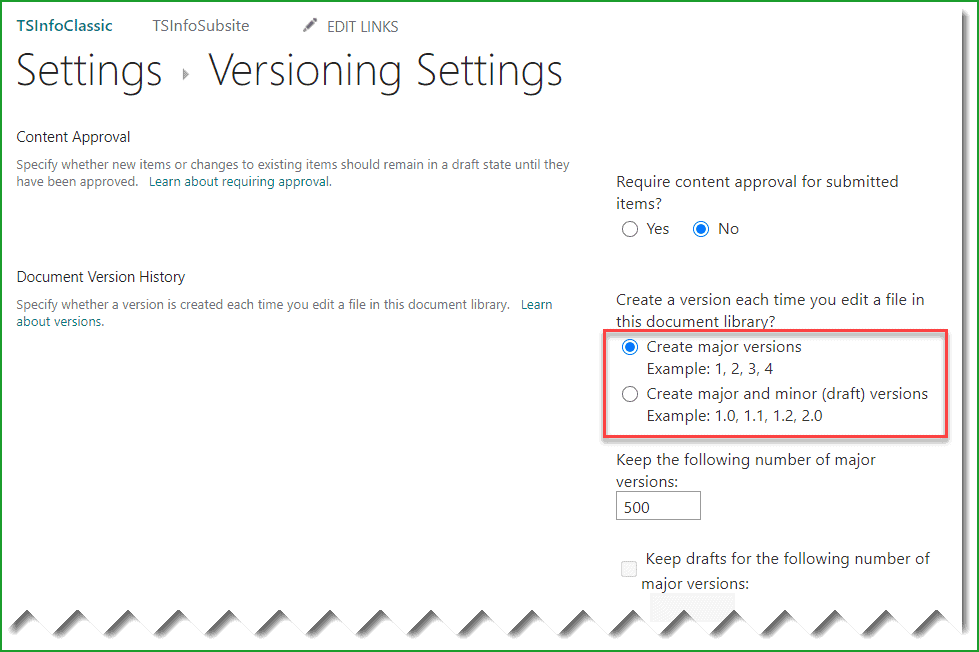 no versioning missing in modern sharepoint site