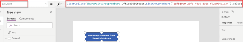 powerapps get members from SharePoint group