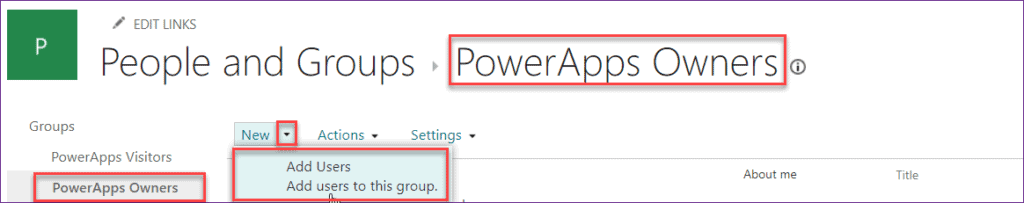 powerapps list group users