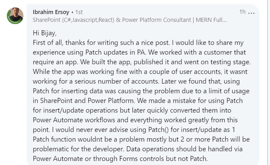 powerapps patch limitations