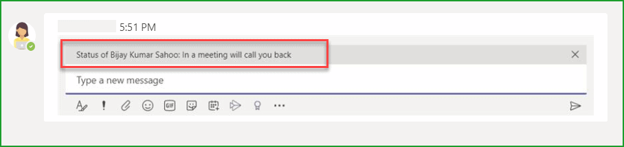 set status message in microsoft teams