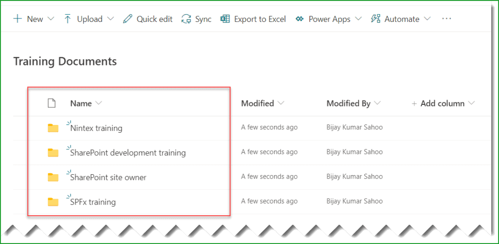 sharepoint create folder