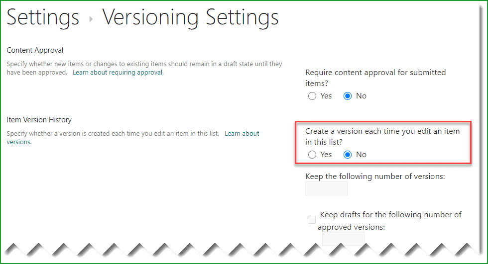turn off versioning in sharepoint online list