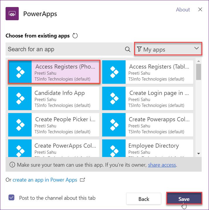 Add PowerApps Canvas app to Teams