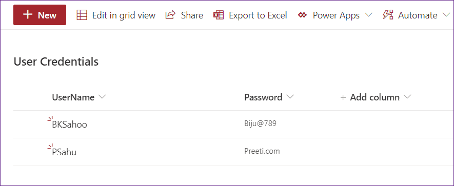 Create Powerapps Login page using SharePoint List