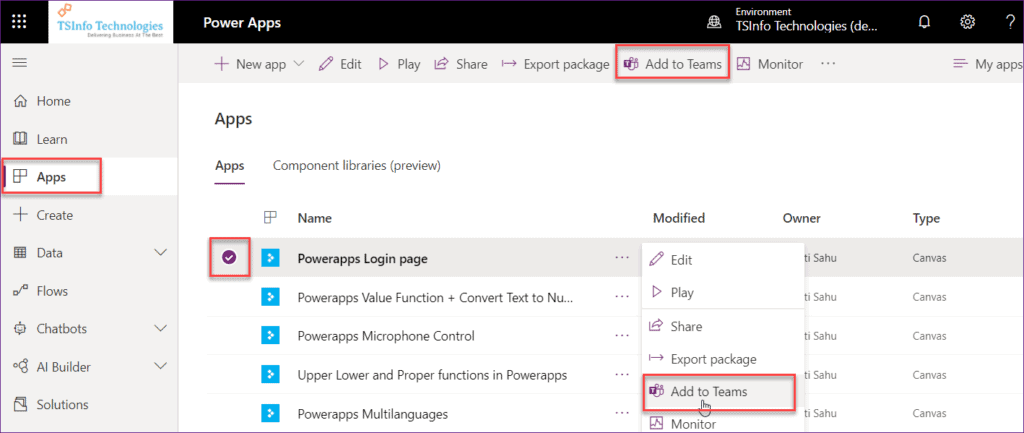 Embed PowerApps app to Microsoft Teams