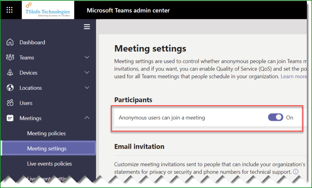 Enable Anonymous users can join a meeting in Microsoft Teams