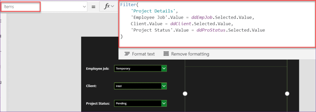 How to Filter Gallery by multiple Dropdown in PowerApps
