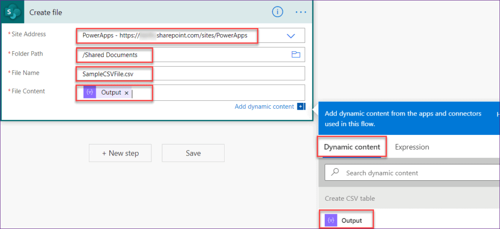 How to create Powerapps csv in SharePoint document