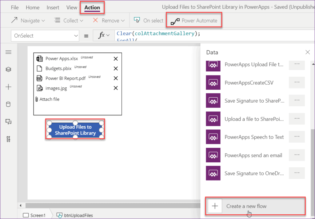 PowerApps Upload File to SharePoint Library using Flow