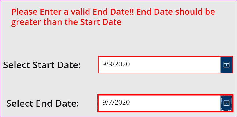 PowerApps date range picker