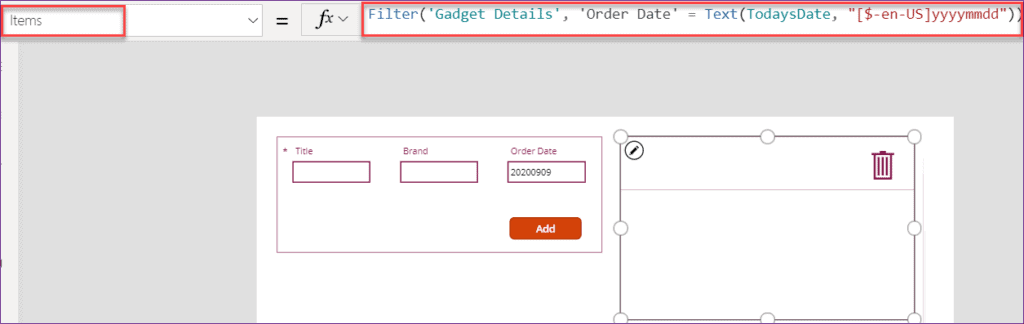 PowerApps filter SharePoint by date