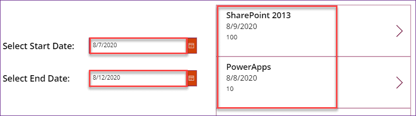 PowerApps filter gallery date range