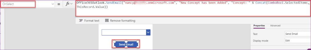 PowerApps send an email on button press
