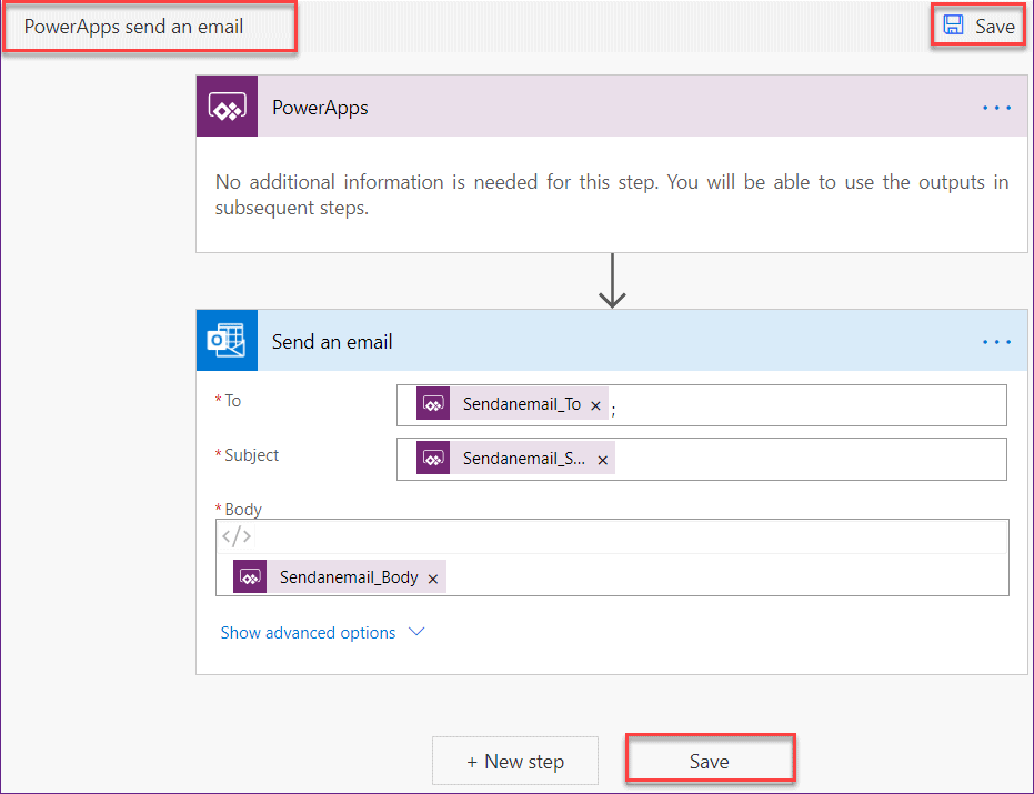 PowerApps send an email submit