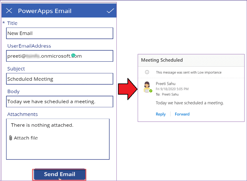 PowerApps send email submit button
