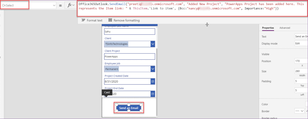 PowerApps send email button click