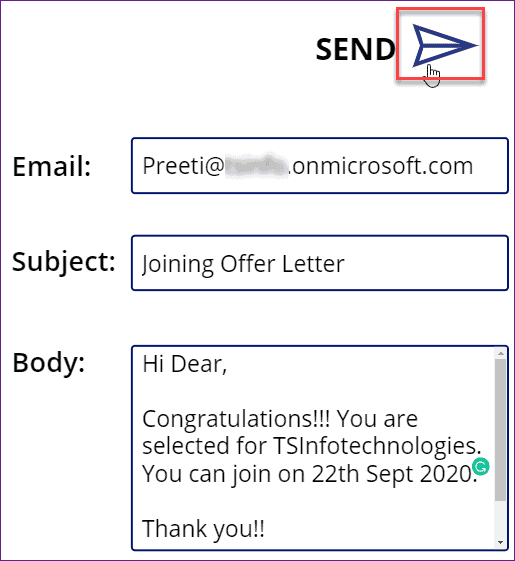 PowerApps send email with cc and bcc