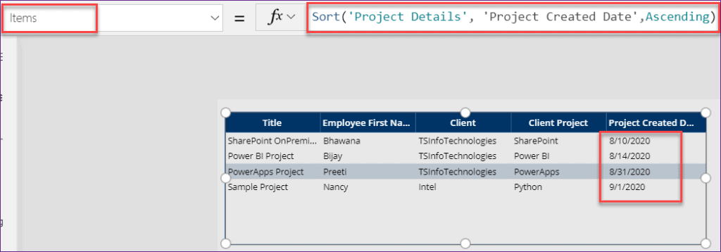PowerApps sort by columns filter date