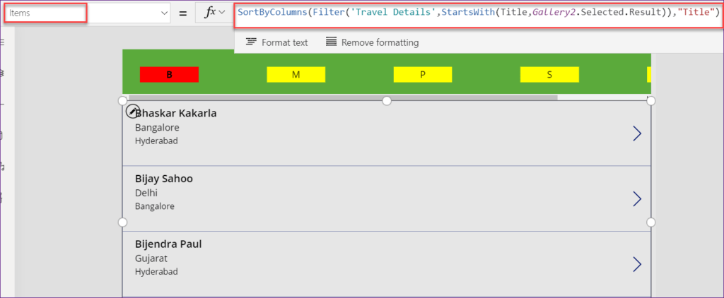 Powerapps filter gallery control