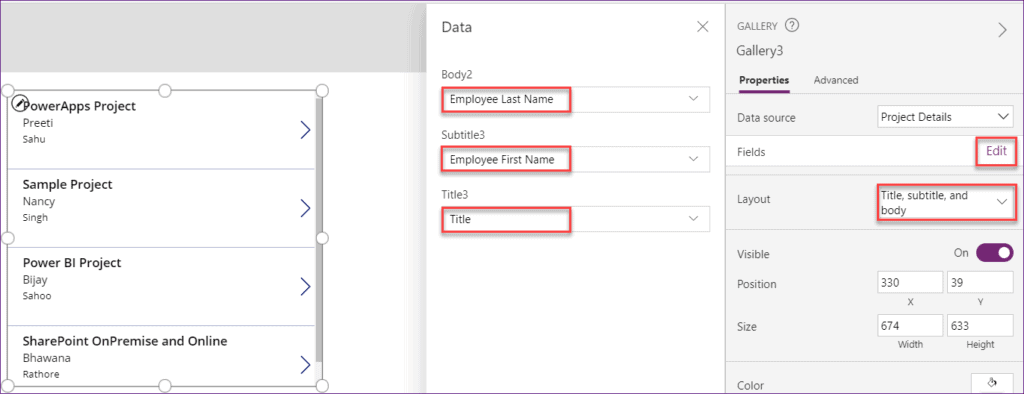 Powerapps gallery control SharePoint list