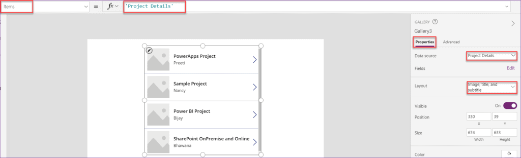 Powerapps gallery control using SharePoint list