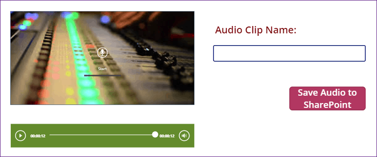 Save PowerApps Microphone audio record to SharePoint