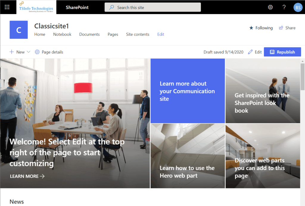 convert classic sharepoint site to modern communication site