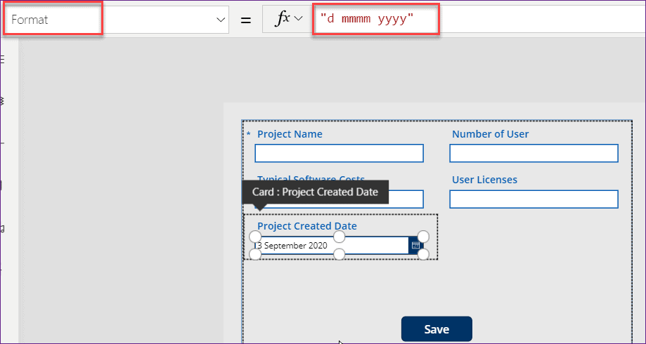 convert date to text in power apps