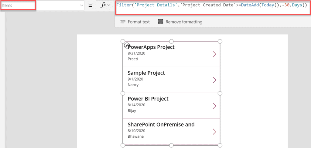 create a Date filter in PowerApps