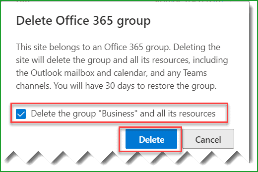 delete a sharepoint site