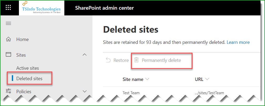 delete sharepoint site permanently