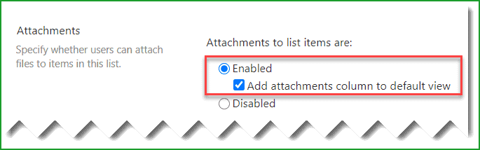 enable attachments in sharepoint list