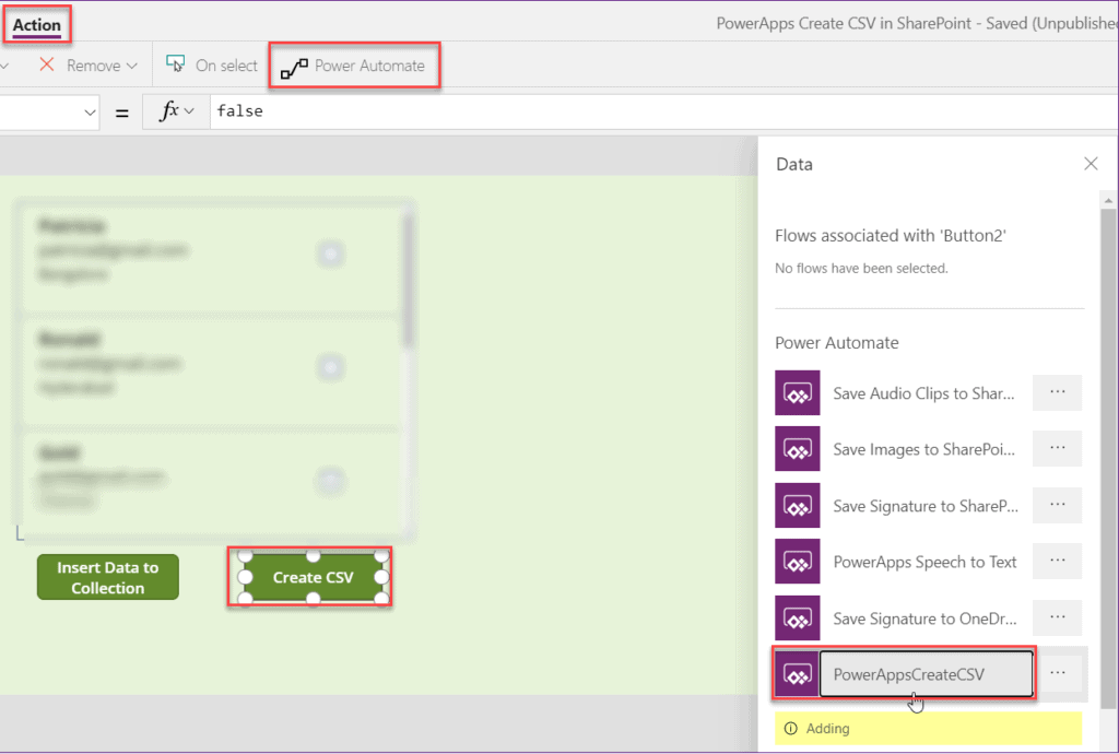 export CSV in SharePoint list using PowerApps