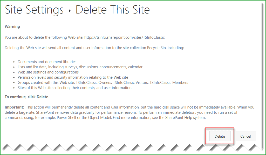how to delete a sharepoint site