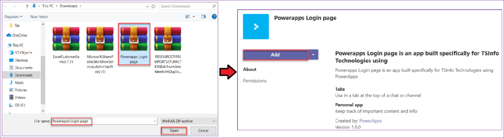 how to embed powerapps app in teams