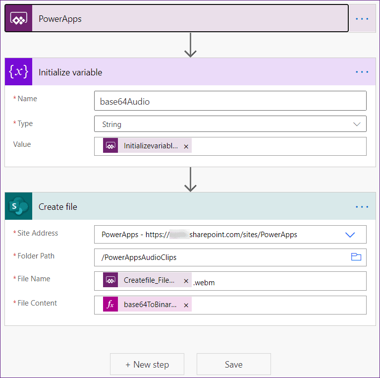 how to save Powerapps audio record in SharePoint Online list