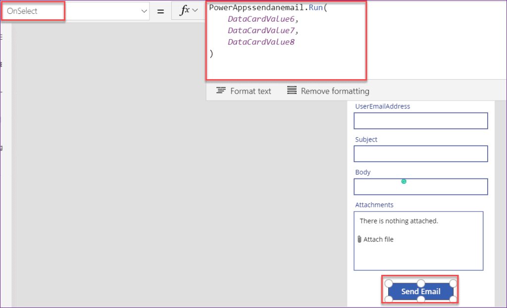 how to send an email on submit button in PowerApps