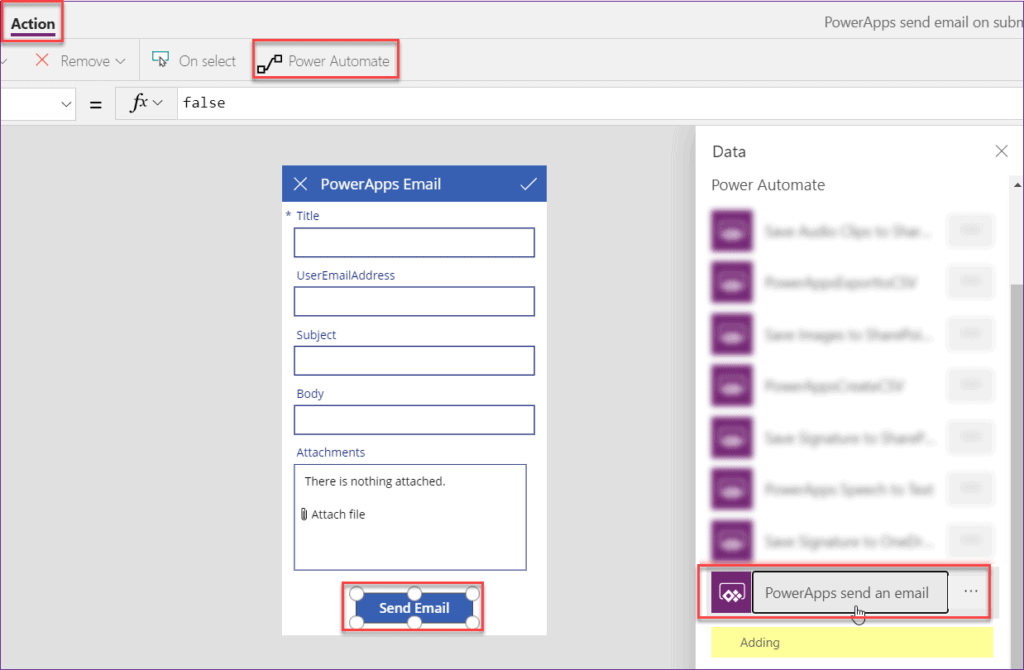 how to send email on submit button in PowerApps