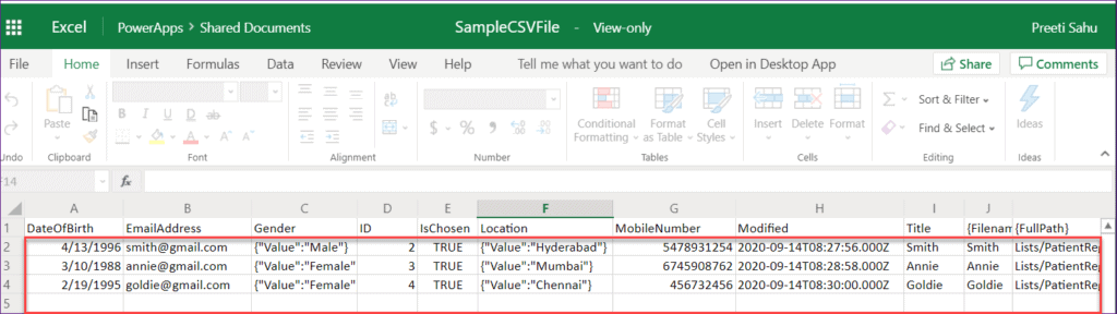powerapps generate csv file SharePoint document