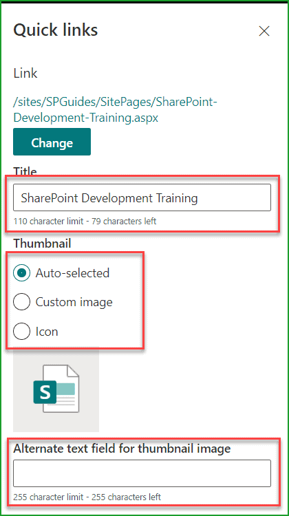 quick links web part in sharepoint online