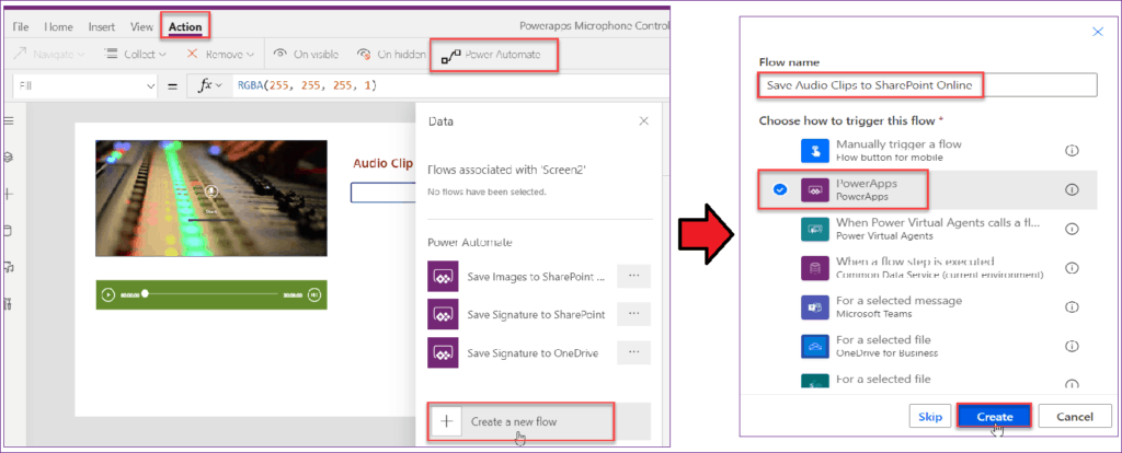 save powerapps audio in SharePoint library