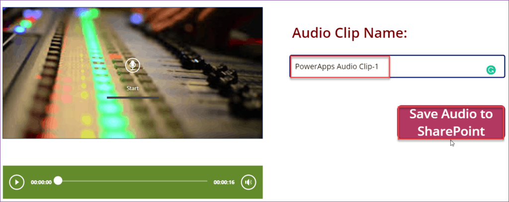 save powerapps audio record to SharePoint Online