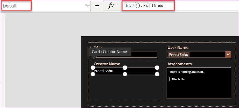 set default current user in PowerApps